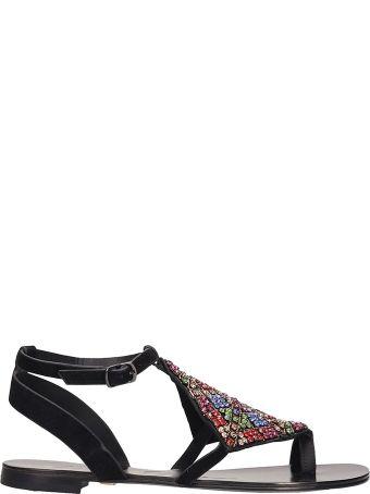 Lola Cruz Black Suede Leather Toe Ring Sandal