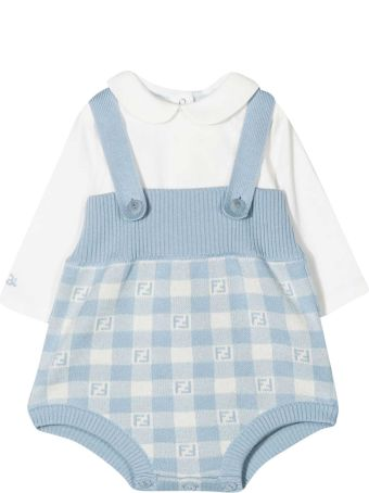 Fendi Blue Shirt And Dungaree Set