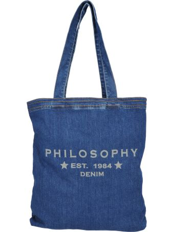 Philosophy di Lorenzo Serafini Philosophy Shopping Denim Logo Bag