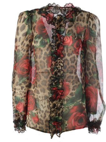 Dolce & Gabbana Mixed-print Ruffled Blouse