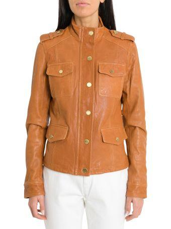 MICHAEL Michael Kors Four Flap Pockets Vintage-effect Leather Jacket