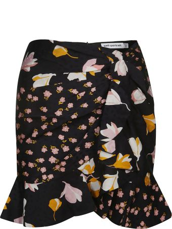 self-portrait Flared Floral Skirt