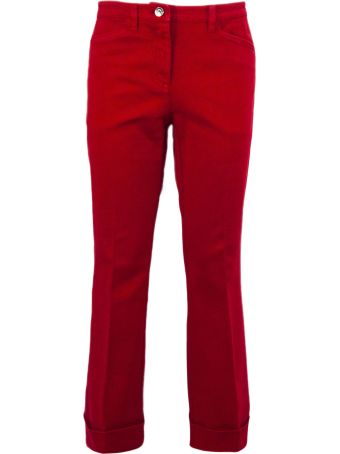 N.21 Red Stretch Cotton Bootcut Trousers