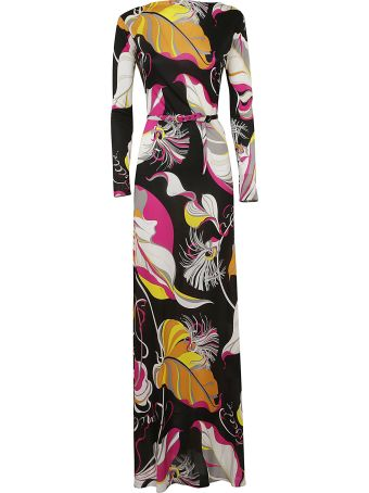 Emilio Pucci Leafy Print Long Dress