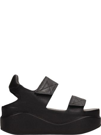 Roberto del Carlo Black Leather Platform Sandals
