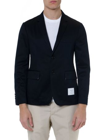 Thom Browne Navy Blue Cotton Single Breast Jacket