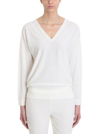 Theory Ivory Deep V Dolman Wool Sweater