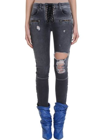 Ben Taverniti Unravel Project Stonewash Lace Up Skinny Jeans