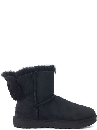 UGG Arielle Black Leather Boots With Wool Bow