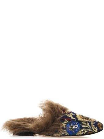 Coral Blue Brocade Slippers With Fur
