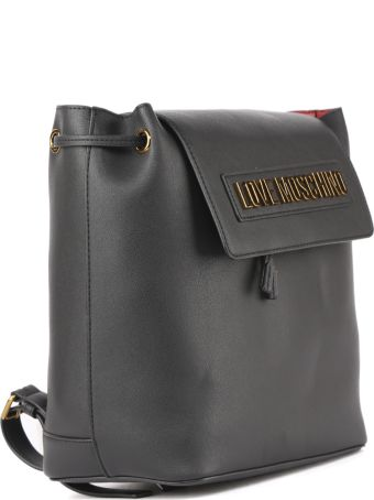Love Moschino Black Faux Leather Logo Backpack