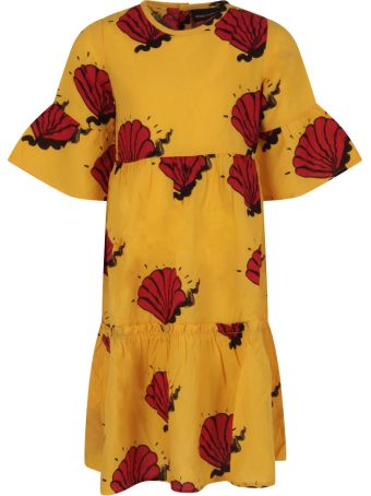 Mini Rodini Yellow Dress For Girl With Red Shells
