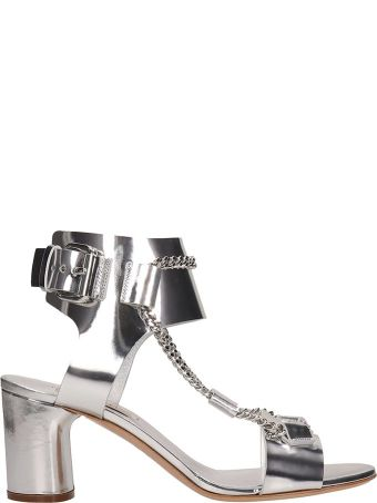 Casadei Silver Mirror Leather Sandals