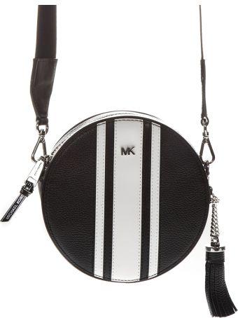 MICHAEL Michael Kors Cateen Black & White Leather Shoulder Strap