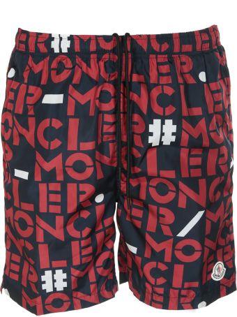 Moncler Logo Printed Swim Shorts