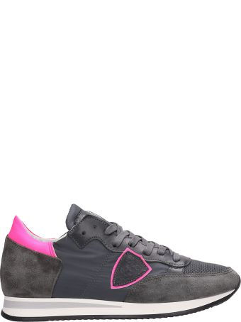 Philippe Model Tropez Grey-fuxia Suede Sneakers