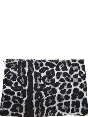 Saint Laurent Leopard Printed Black & White Silk Scarf