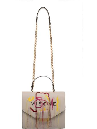 Visone Off White Angie Embroidery Leather Shoulder Bag