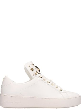 Michael Kors White Leather Mindy Lace Up Sneakers