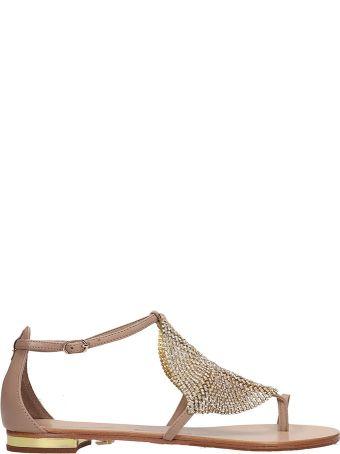 Lola Cruz Beige Leather Toe Ring Sandal