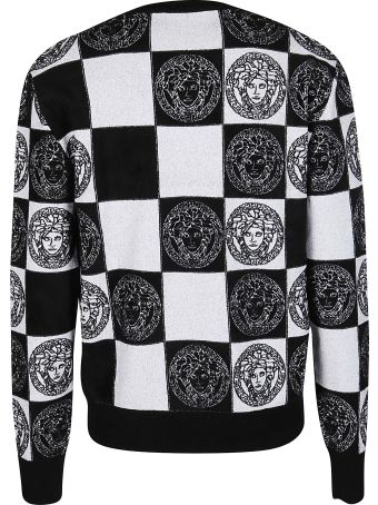 Versace Black An White Viscose Blend Sweatshirt