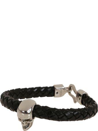 Alexander McQueen Skull/leather Bracel