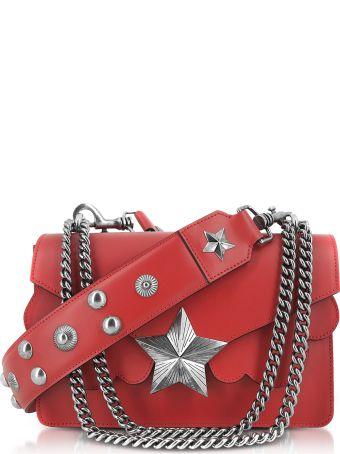Les Jeunes Etoiles Red Leather Vega Medium Shoulder Bag