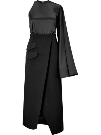 Solace London Marceo Satin And Crepe Midi Dress