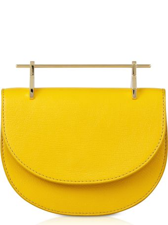 M2Malletier Tangerine Lux Leather Mini Half Moon Bag