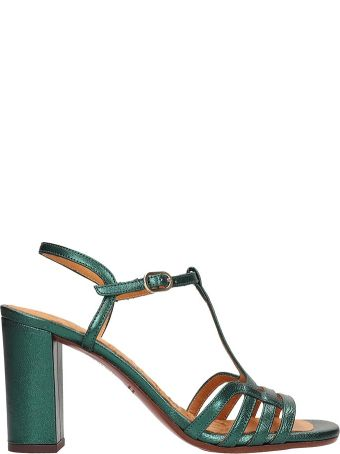 Chie Mihara Green Metallic Leather Bely Sandals