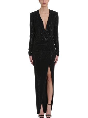 Alexandre Vauthier Crystalized Black Long Dress