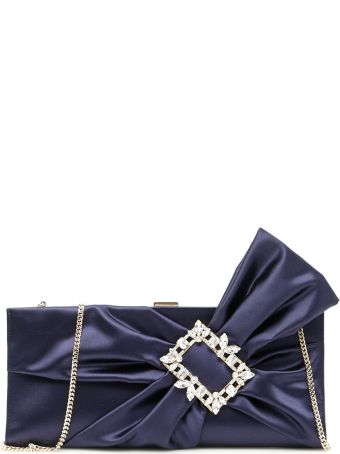 Roger Vivier Rv Broche Drapé Satin Clutch