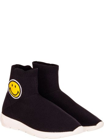 Joshua Sanders Black Socks Sneaker With Smile
