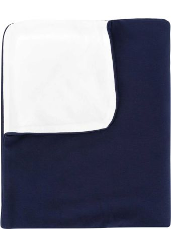 Moschino Blue Squared Blanket With Toy Press
