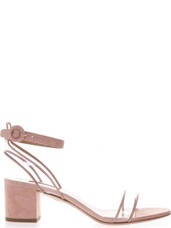 Aquazzura 60mm Rose Suede & Pvc Sandals