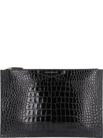 Givenchy Antigona Crocodile Print Leather Flat Pouch