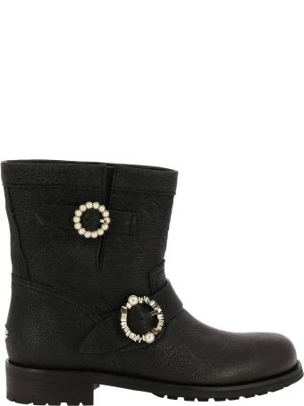 438d64ccc6e Jimmy Choo Flat Booties Jimmy Choo Youth Biker Style Ankle Boots In Satin  Leather With Maxi
