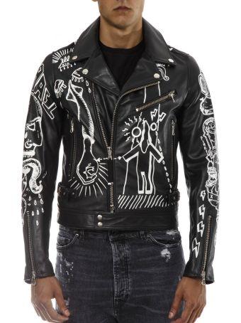 Diesel Black Gold Black Leather Jacket With Graffiti Print