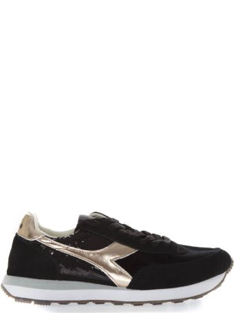 Diadora Heritage Black Sneakers With Suede Inserts And Sequins Applied