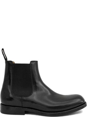 Green George Black Brushed Leather Ankle Boot.