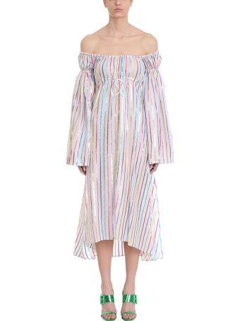 ATTICO White Lurex Striped Dress