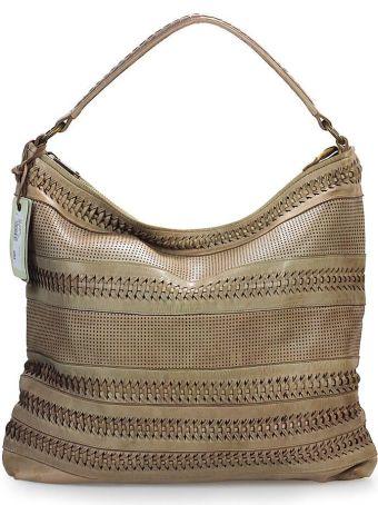 Rehard Weave Beige Leather Shopping Bag