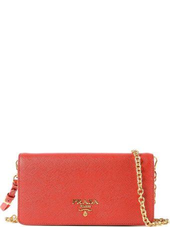 Prada Mini Saffiano Chain Wallet