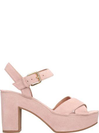 L'Autre Chose Pink Suede Sandals