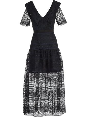 self-portrait Dress Midi Spiral Panel Lace