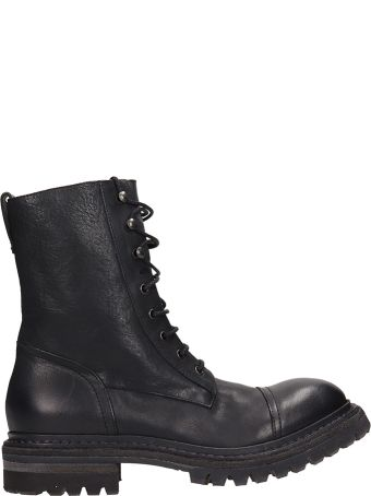 Roberto del Carlo Black Leather Combact Boots