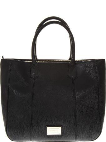 Emporio Armani Medium Black Hand Bag In Eco Leather