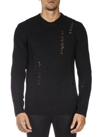 Les Hommes Black Wool Ribbed Worn Sweater