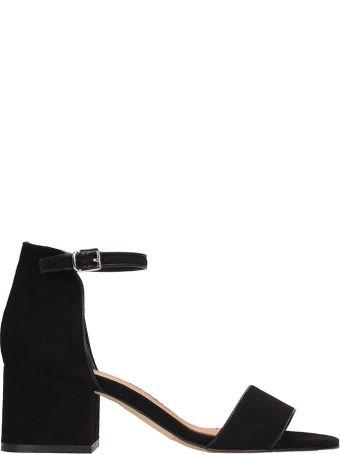 Julie Dee Black Suede Sandals