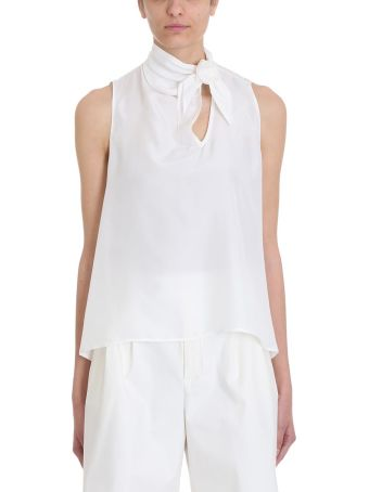 Mauro Grifoni Bow White Viscose Top